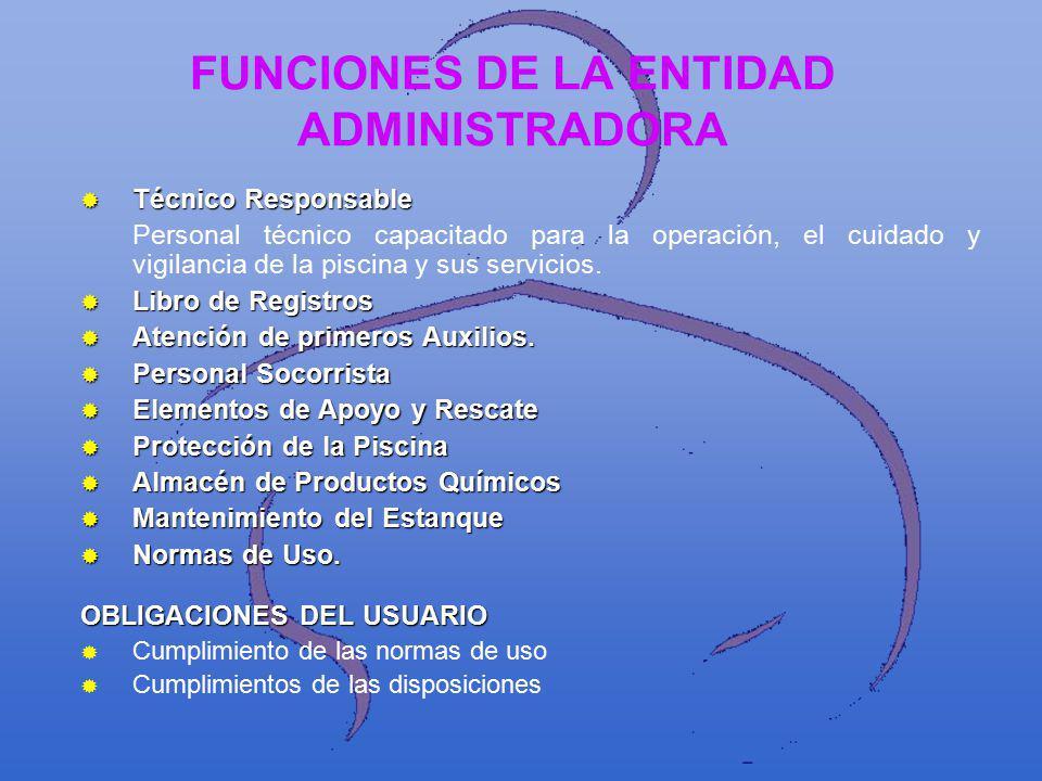 FUNCIONES DE LA ENTIDAD ADMINISTRADORA Técnico Responsable Técnico Responsable Personal técnico capacitado para la operación, el cuidado y vigilancia