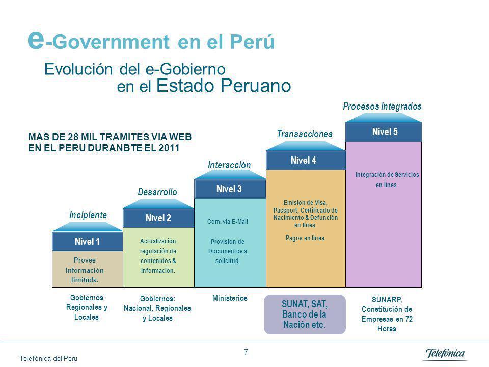 Telefónica del Peru 7 Gobiernos Regionales y Locales Gobiernos: Nacional, Regionales y Locales Ministerios SUNAT, SAT, Banco de la Nación etc.