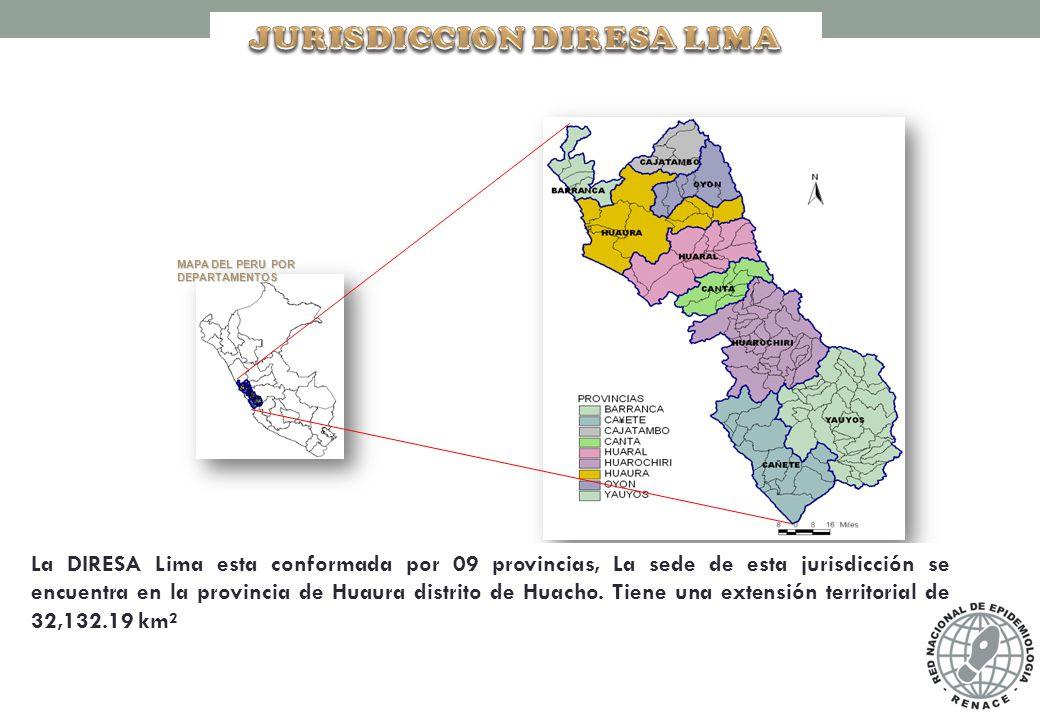 MAPA DEL PERU POR DEPARTAMENTOS La DIRESA Lima esta conformada por 09 provincias, La sede de esta jurisdicción se encuentra en la provincia de Huaura distrito de Huacho.