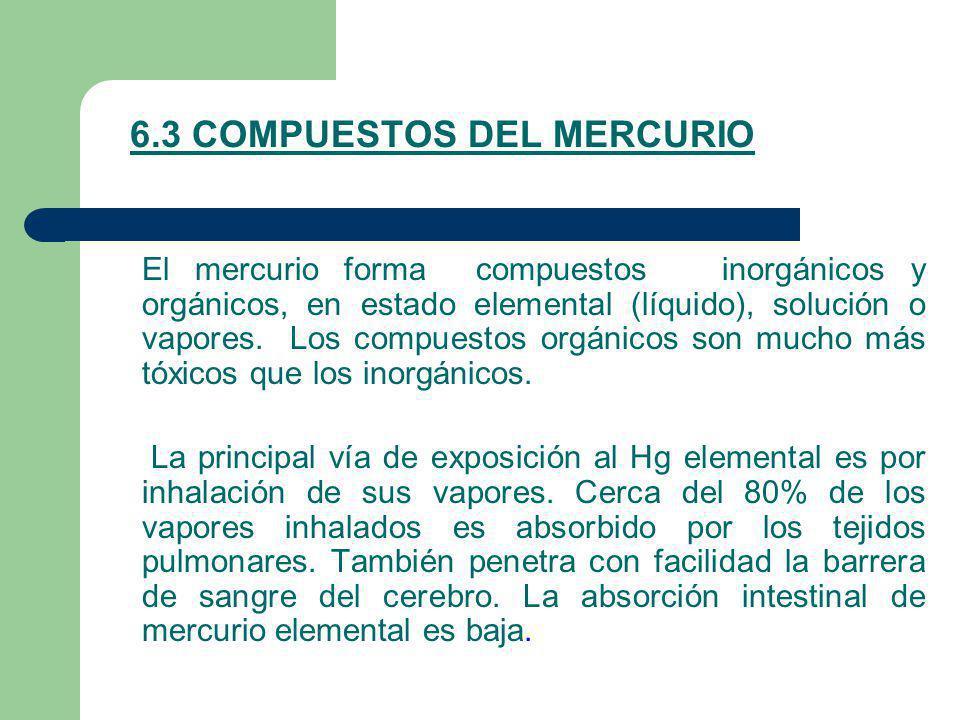 6.3 COMPUESTOS DEL MERCURIO El mercurio forma compuestos inorgánicos y orgánicos, en estado elemental (líquido), solución o vapores. Los compuestos or
