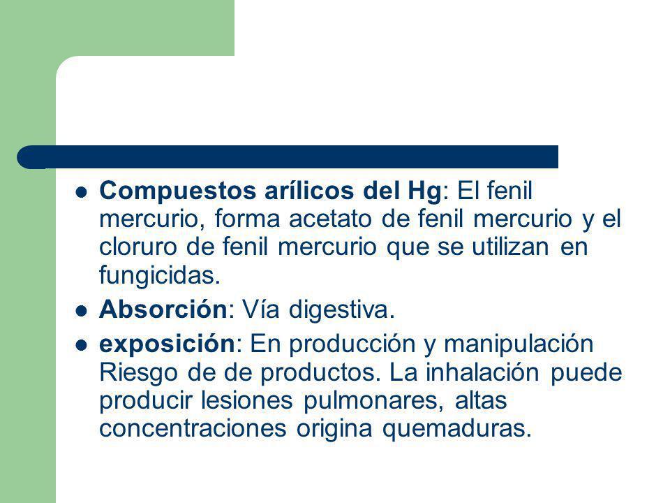 Compuestos arílicos del Hg: El fenil mercurio, forma acetato de fenil mercurio y el cloruro de fenil mercurio que se utilizan en fungicidas. Absorción