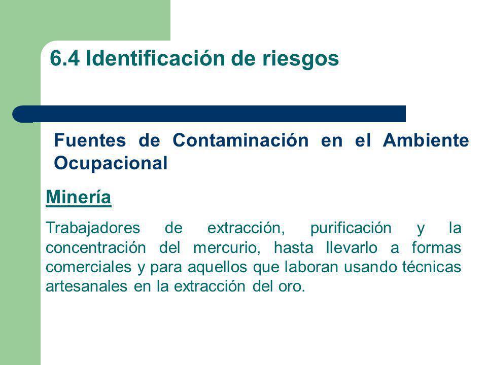 6.4 Identificación de riesgos Fuentes de Contaminación en el Ambiente Ocupacional Minería Trabajadores de extracción, purificación y la concentración