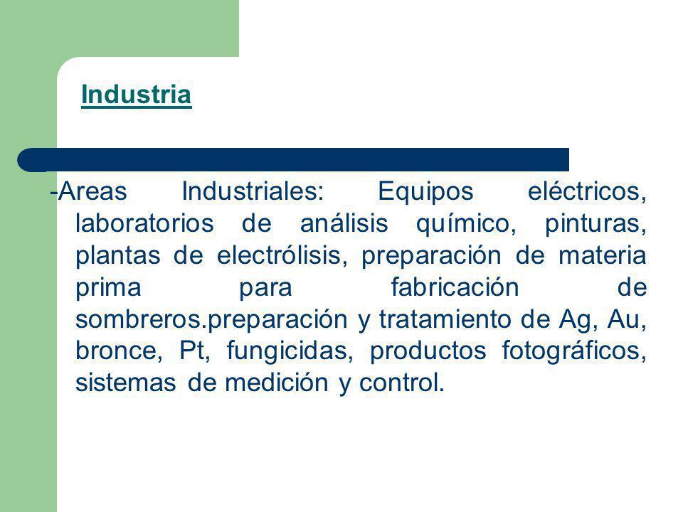 -Areas Industriales: Equipos eléctricos, laboratorios de análisis químico, pinturas, plantas de electrólisis, preparación de materia prima para fabric