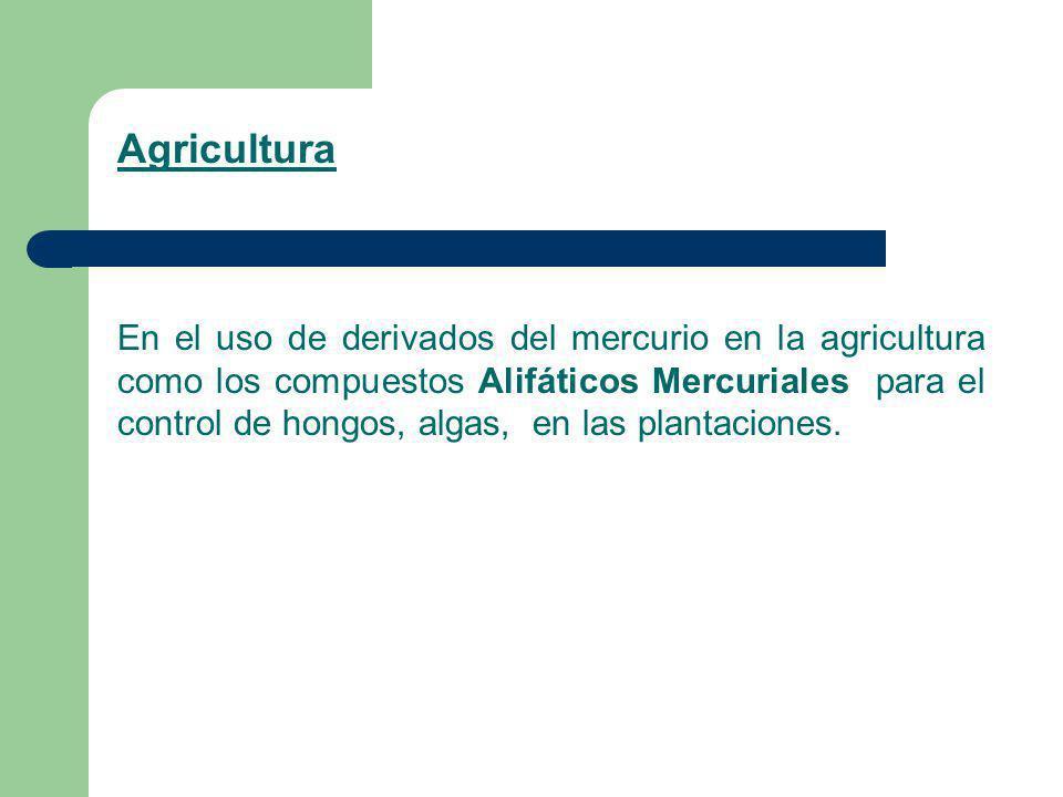 Agricultura En el uso de derivados del mercurio en la agricultura como los compuestos Alifáticos Mercuriales para el control de hongos, algas, en las