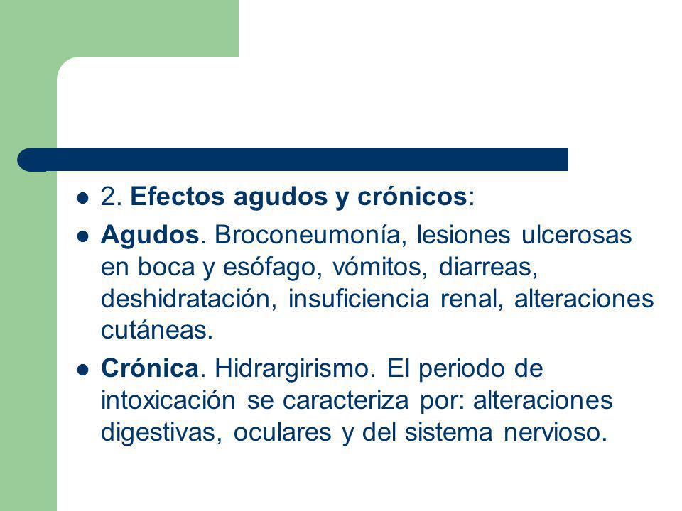 2. Efectos agudos y crónicos: Agudos. Broconeumonía, lesiones ulcerosas en boca y esófago, vómitos, diarreas, deshidratación, insuficiencia renal, alt