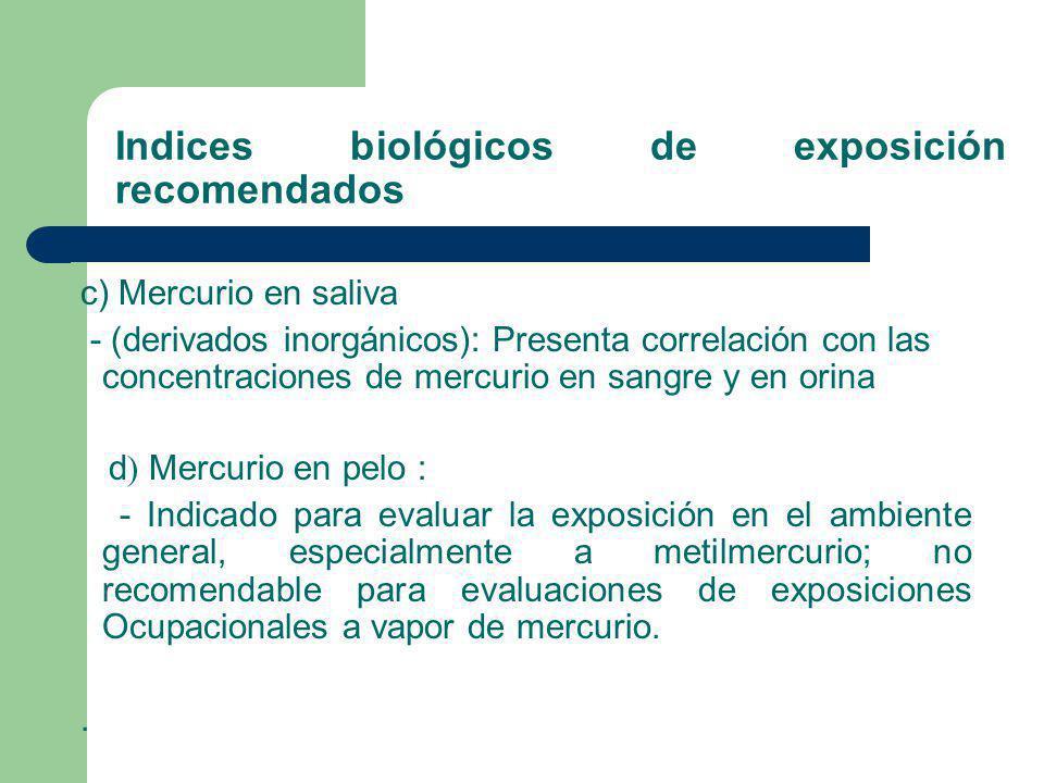 Indices biológicos de exposición recomendados c) Mercurio en saliva - (derivados inorgánicos): Presenta correlación con las concentraciones de mercuri
