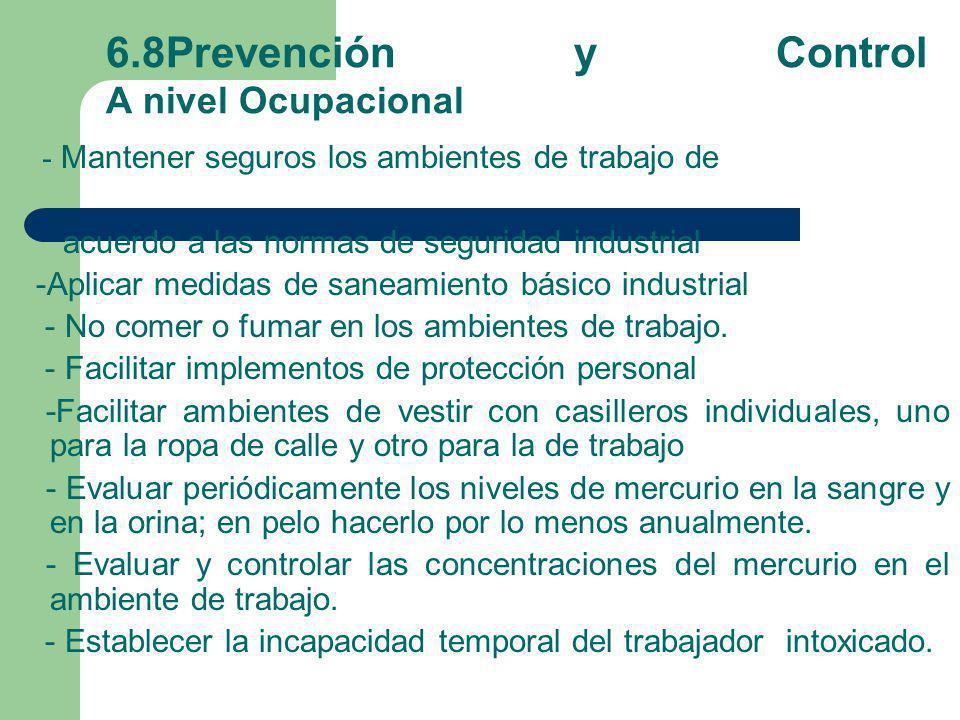 6.8Prevención y Control A nivel Ocupacional - Mantener seguros los ambientes de trabajo de acuerdo a las normas de seguridad industrial -Aplicar medid