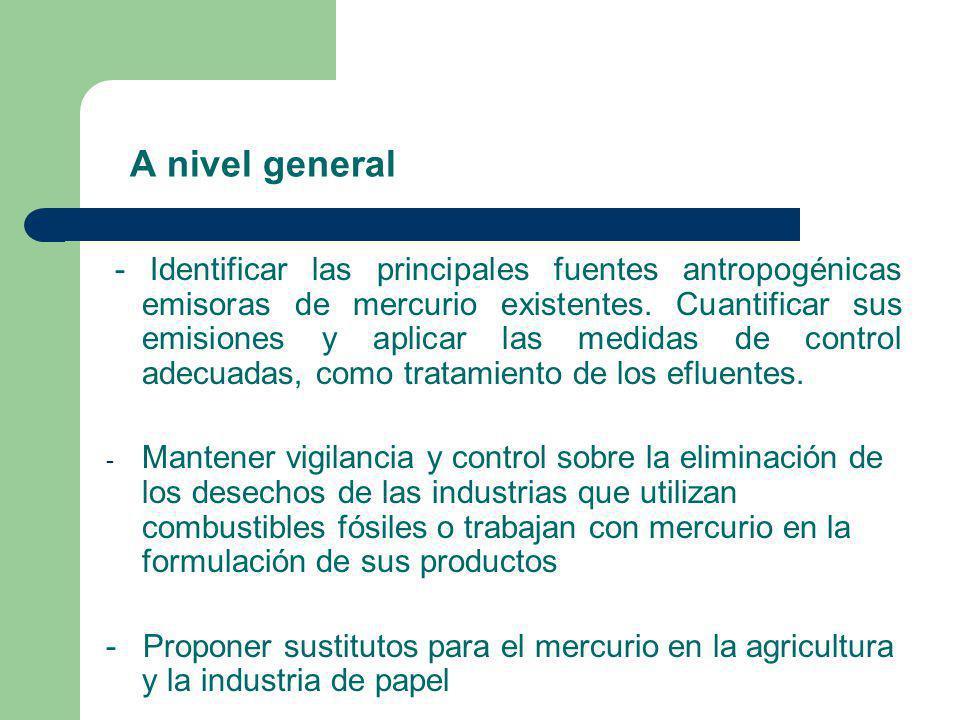 A nivel general - Identificar las principales fuentes antropogénicas emisoras de mercurio existentes. Cuantificar sus emisiones y aplicar las medidas