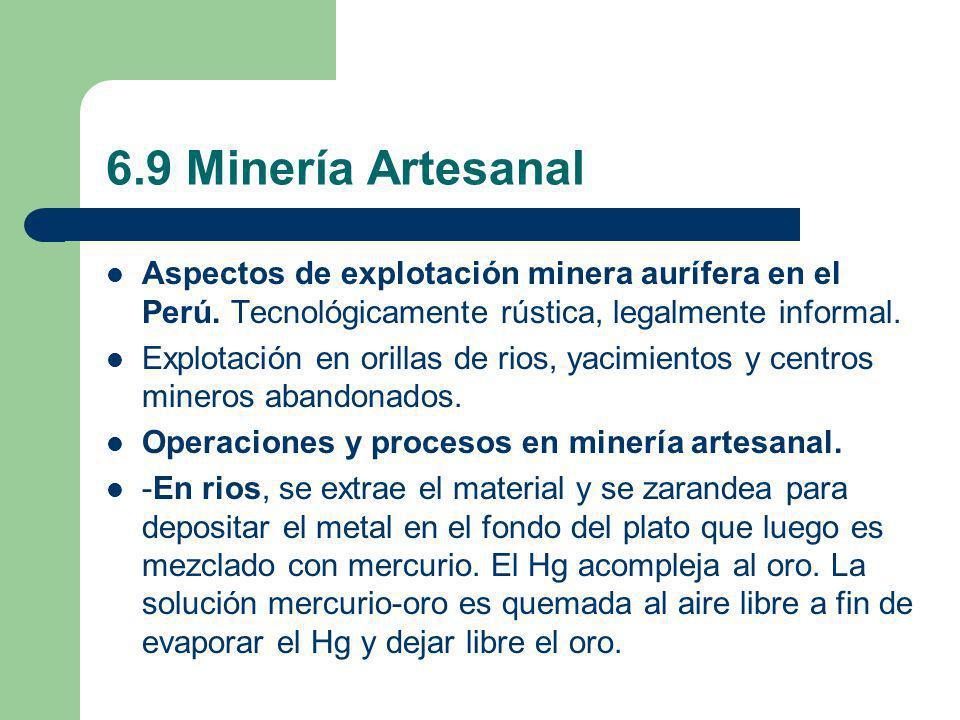 6.9 Minería Artesanal Aspectos de explotación minera aurífera en el Perú. Tecnológicamente rústica, legalmente informal. Explotación en orillas de rio