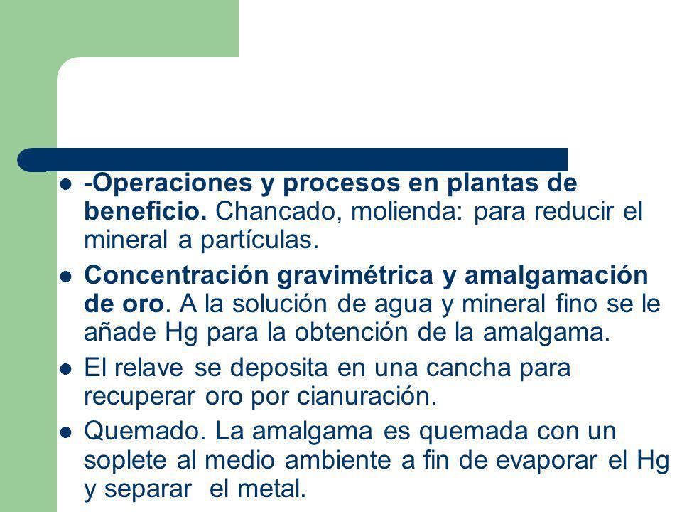 -Operaciones y procesos en plantas de beneficio. Chancado, molienda: para reducir el mineral a partículas. Concentración gravimétrica y amalgamación d