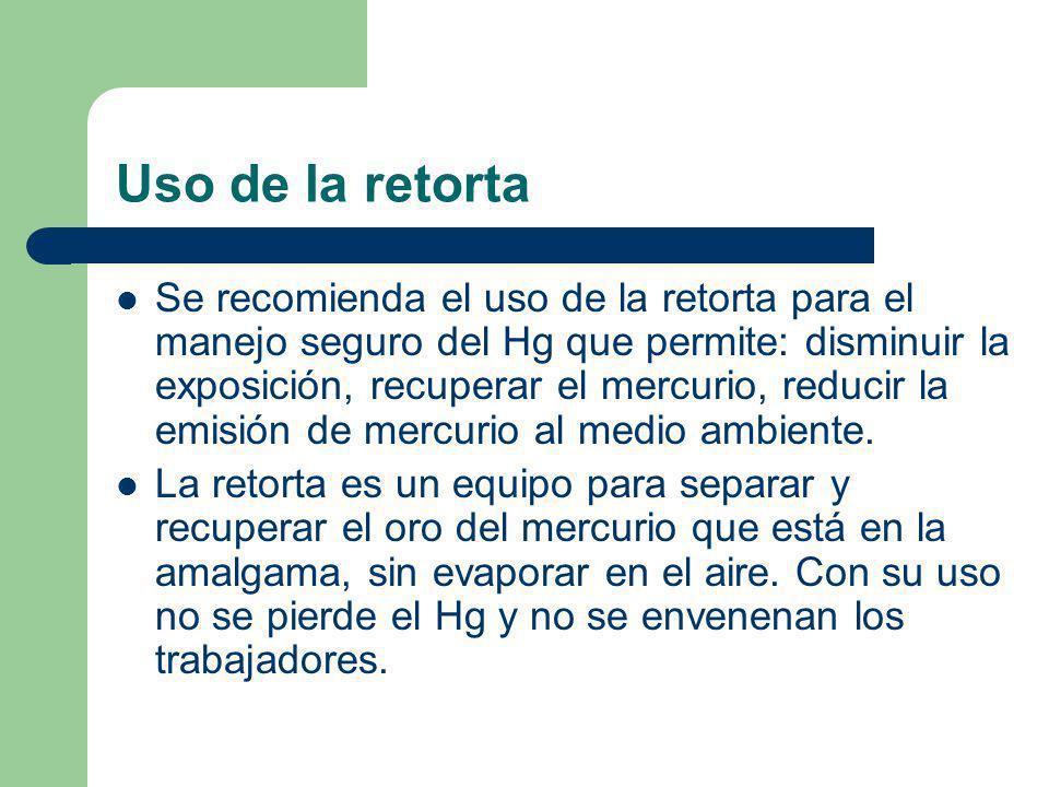 Uso de la retorta Se recomienda el uso de la retorta para el manejo seguro del Hg que permite: disminuir la exposición, recuperar el mercurio, reducir