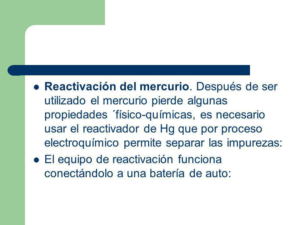 Reactivación del mercurio. Después de ser utilizado el mercurio pierde algunas propiedades ´físico-químicas, es necesario usar el reactivador de Hg qu
