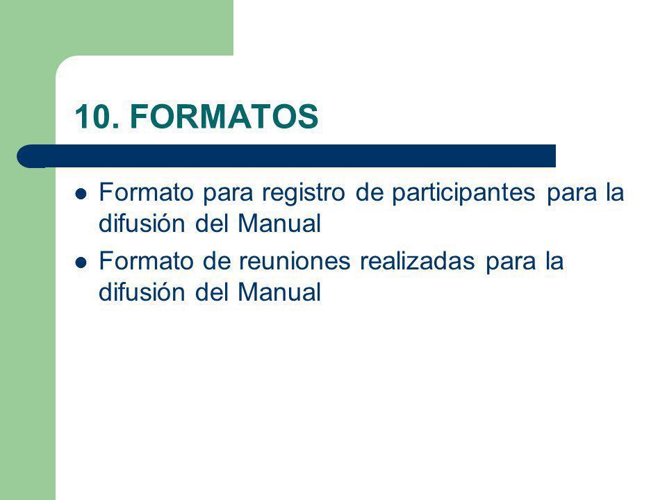 10. FORMATOS Formato para registro de participantes para la difusión del Manual Formato de reuniones realizadas para la difusión del Manual