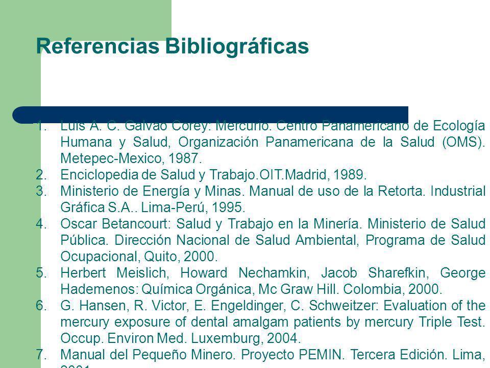 Referencias Bibliográficas 1.Luis A. C. Galvao Corey: Mercurio. Centro Panamericano de Ecología Humana y Salud, Organización Panamericana de la Salud