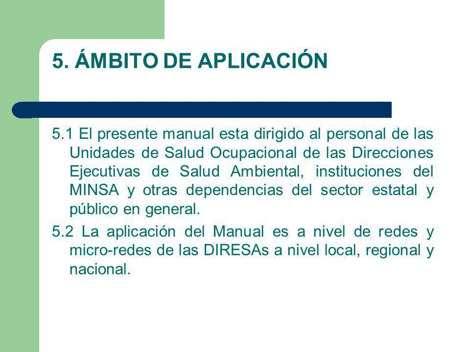 5. ÁMBITO DE APLICACIÓN 5.1 El presente manual esta dirigido al personal de las Unidades de Salud Ocupacional de las Direcciones Ejecutivas de Salud A