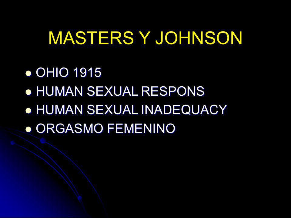MASTERS Y JOHNSON OHIO 1915 OHIO 1915 HUMAN SEXUAL RESPONS HUMAN SEXUAL RESPONS HUMAN SEXUAL INADEQUACY HUMAN SEXUAL INADEQUACY ORGASMO FEMENINO ORGAS