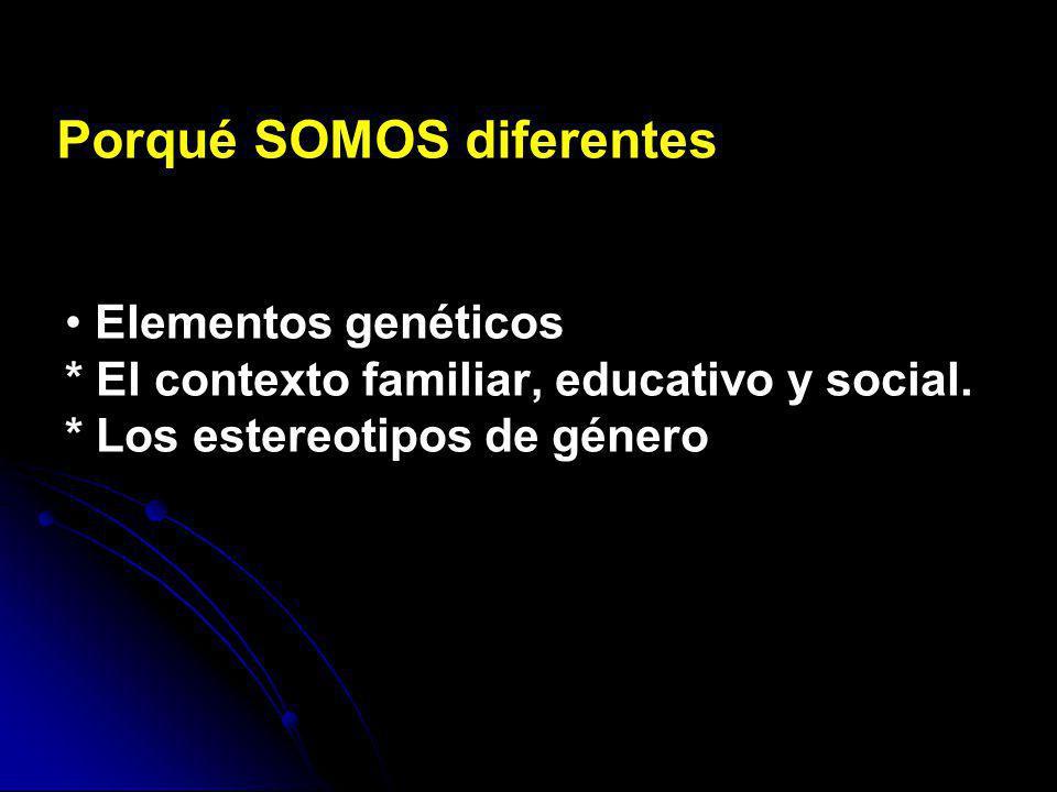 Elementos genéticos * El contexto familiar, educativo y social. * Los estereotipos de género Porqué SOMOS diferentes