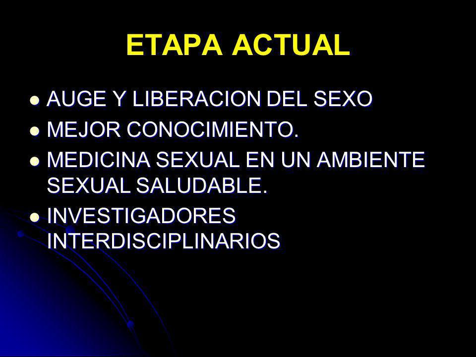 ETAPA ACTUAL AUGE Y LIBERACION DEL SEXO AUGE Y LIBERACION DEL SEXO MEJOR CONOCIMIENTO. MEJOR CONOCIMIENTO. MEDICINA SEXUAL EN UN AMBIENTE SEXUAL SALUD