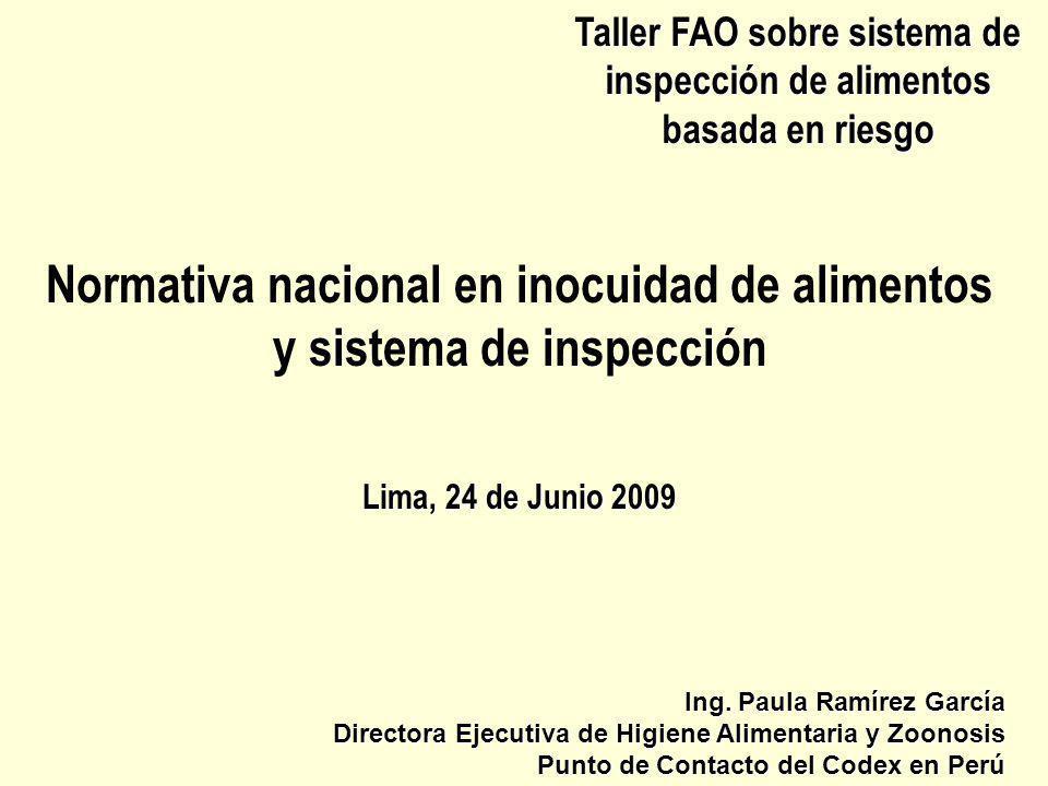 Taller FAO sobre sistema de inspección de alimentos basada en riesgo Normativa nacional en inocuidad de alimentos y sistema de inspección Lima, 24 de