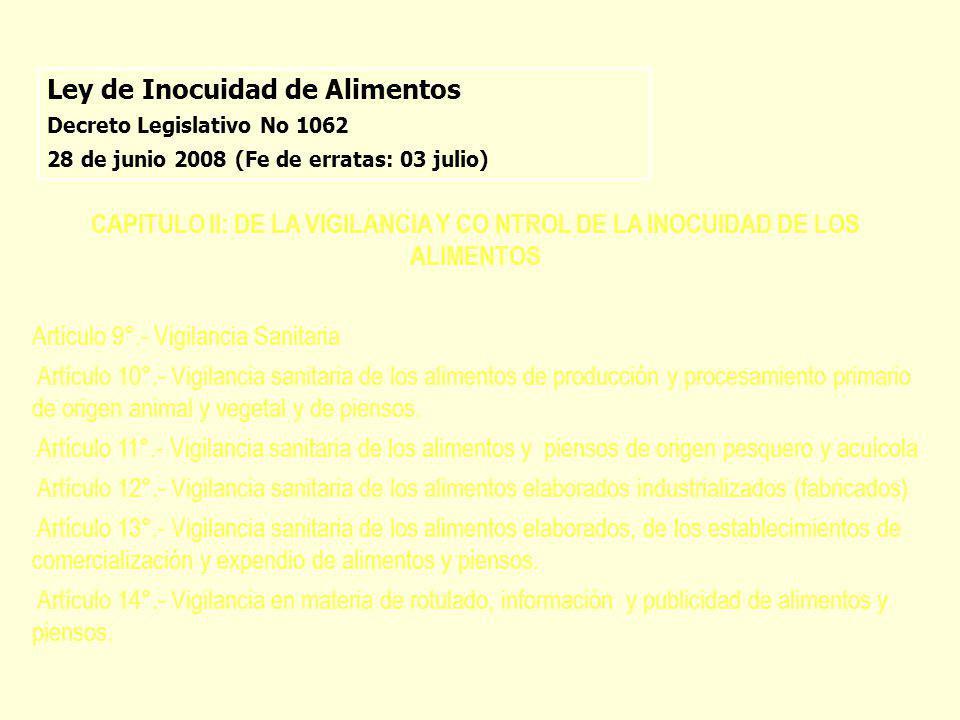 Ley de Inocuidad de Alimentos Decreto Legislativo No 1062 28 de junio 2008 (Fe de erratas: 03 julio) CAPITULO II: DE LA VIGILANCIA Y CO NTROL DE LA IN
