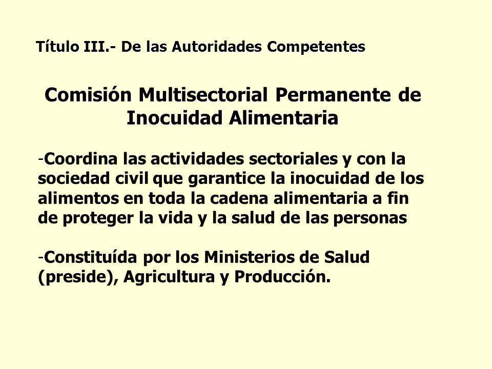 Comisión Multisectorial Permanente de Inocuidad Alimentaria -Coordina las actividades sectoriales y con la sociedad civil que garantice la inocuidad d