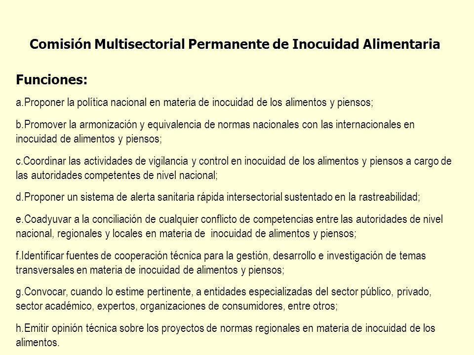 Comisión Multisectorial Permanente de Inocuidad Alimentaria Funciones: a.Proponer la política nacional en materia de inocuidad de los alimentos y pien