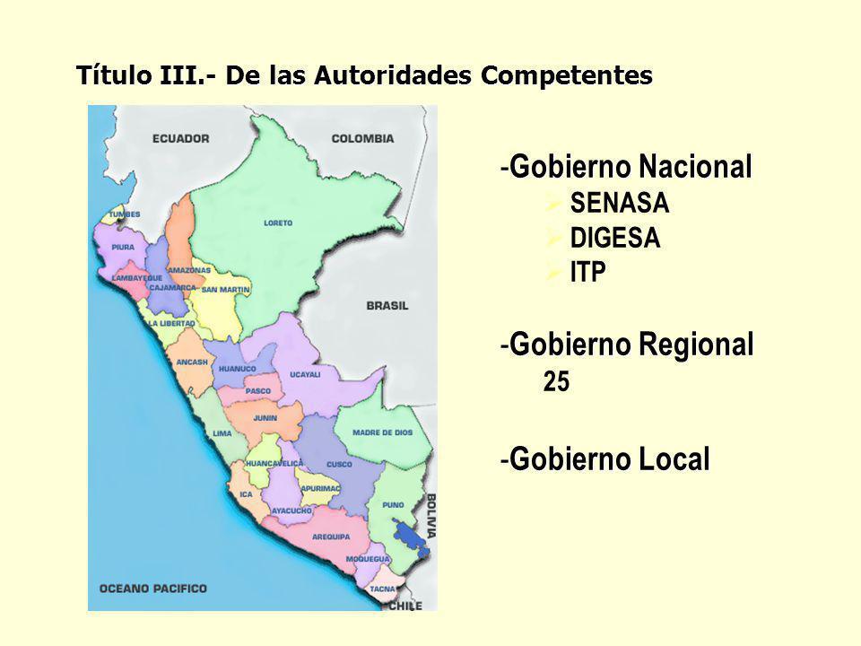 - Gobierno Nacional SENASA DIGESA ITP - Gobierno Regional 25 - Gobierno Local Título III.- De las Autoridades Competentes