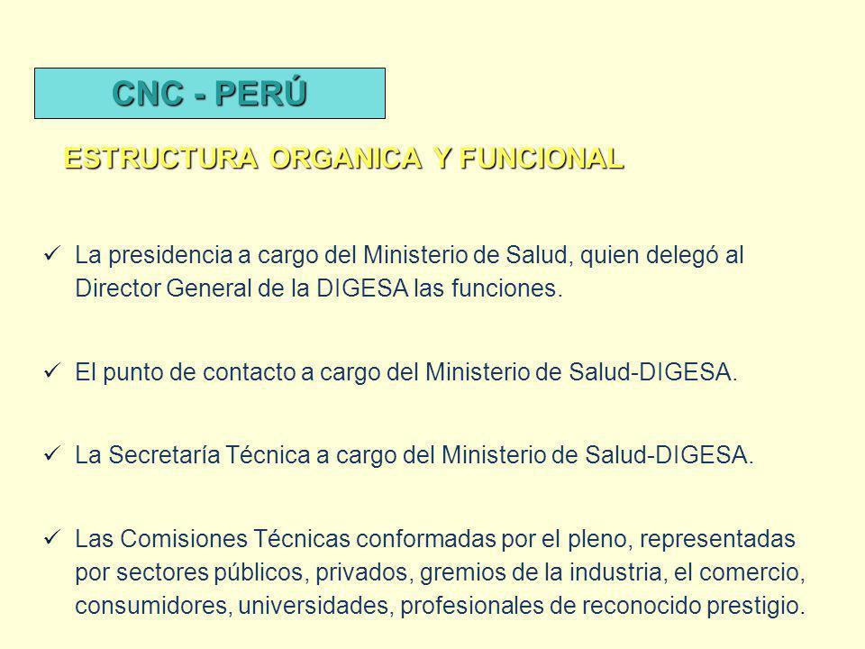 La presidencia a cargo del Ministerio de Salud, quien delegó al Director General de la DIGESA las funciones. El punto de contacto a cargo del Minister