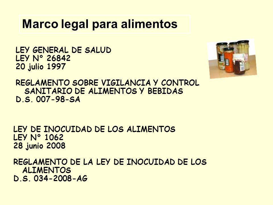 LEY GENERAL DE SALUD LEY N° 26842 20 julio 1997 REGLAMENTO SOBRE VIGILANCIA Y CONTROL SANITARIO DE ALIMENTOS Y BEBIDAS D.S. 007-98-SA Marco legal para
