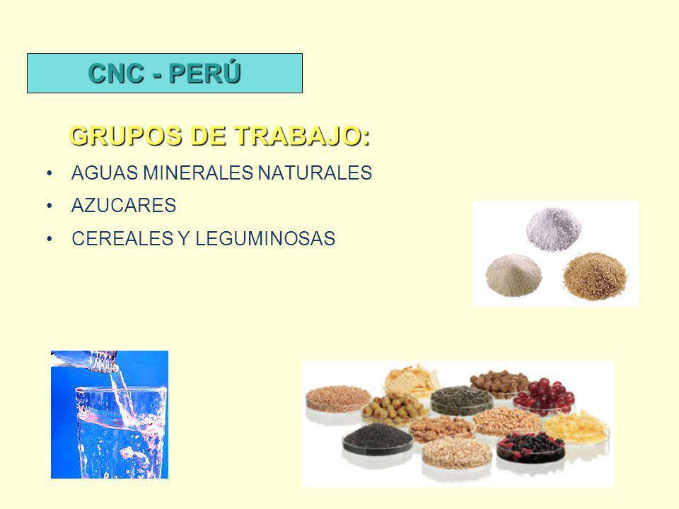 AGUAS MINERALES NATURALES AZUCARES CEREALES Y LEGUMINOSAS GRUPOS DE TRABAJO: CNC - PERÚ