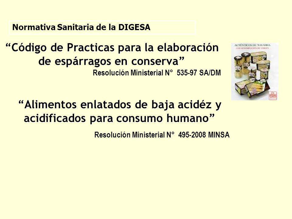 Alimentos enlatados de baja acidéz y acidificados para consumo humano Resolución Ministerial N° 495-2008 MINSA Normativa Sanitaria de la DIGESA Código