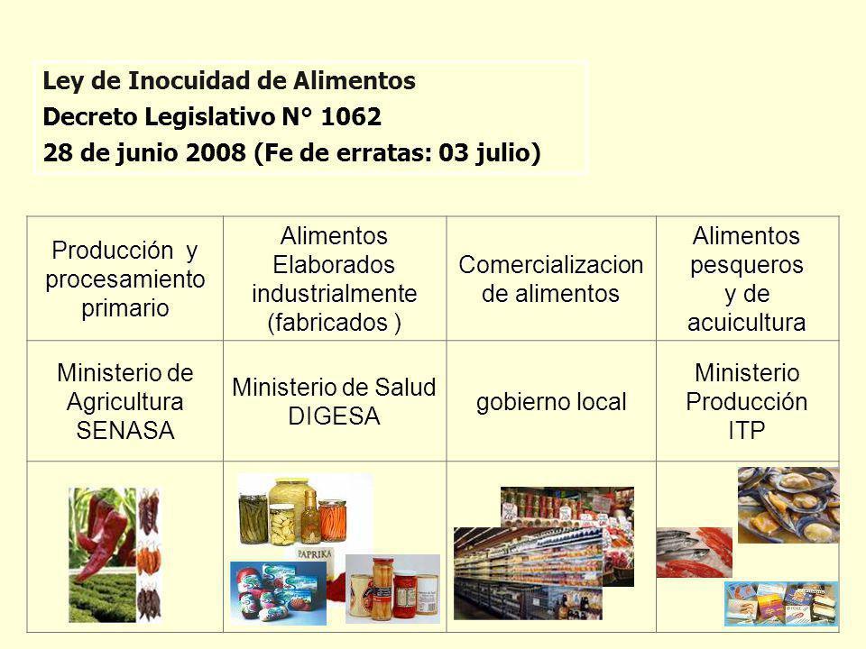 Producción y procesamiento primario Alimentos Elaborados industrialmente (fabricados Elaborados industrialmente (fabricados ) Comercializacion de alim
