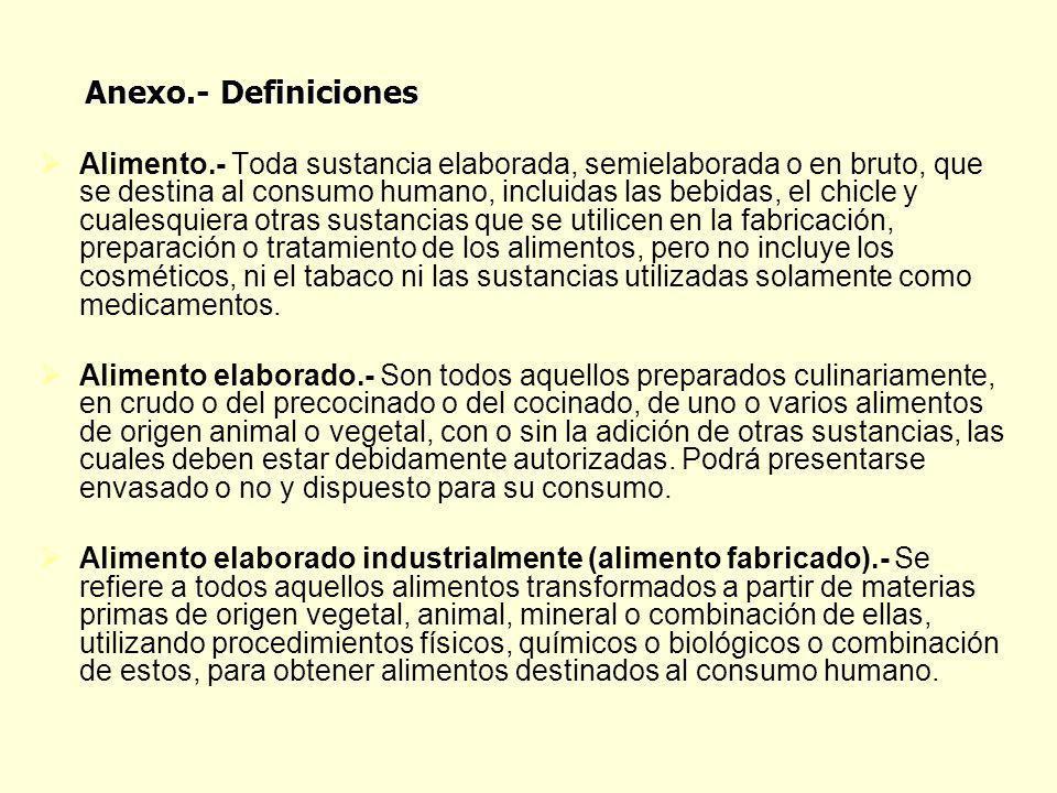 Alimento.- Toda sustancia elaborada, semielaborada o en bruto, que se destina al consumo humano, incluidas las bebidas, el chicle y cualesquiera otras