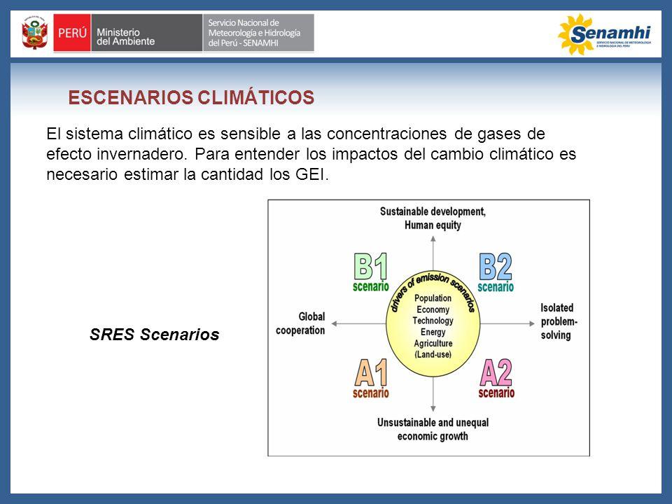ESCENARIOS CLIMÁTICOS El sistema climático es sensible a las concentraciones de gases de efecto invernadero. Para entender los impactos del cambio cli