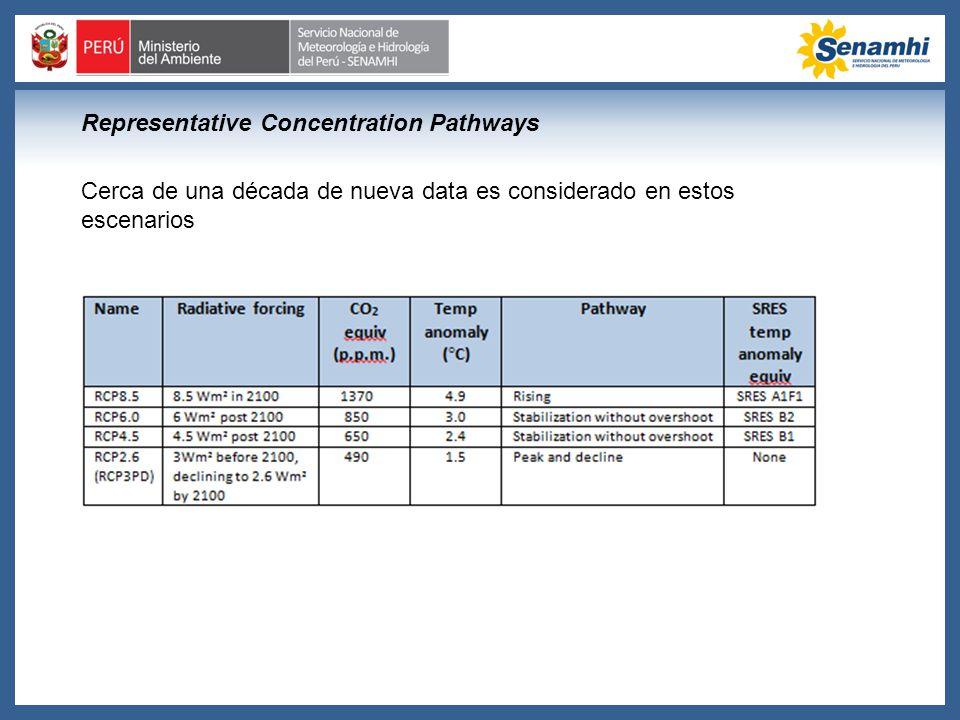 Cerca de una década de nueva data es considerado en estos escenarios Representative Concentration Pathways