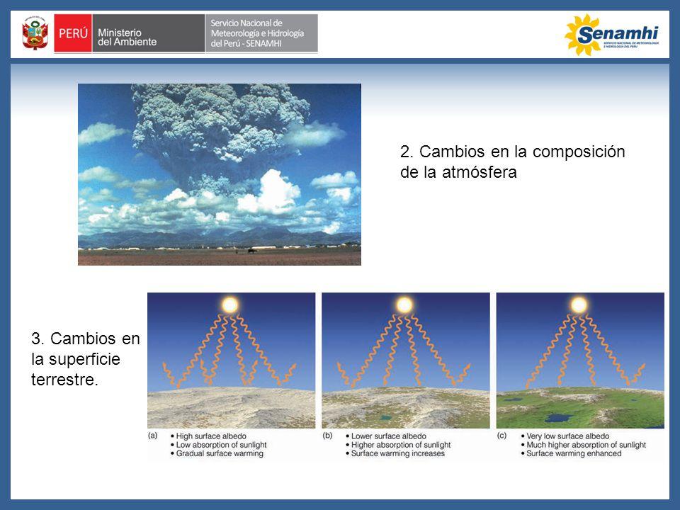 2. Cambios en la composición de la atmósfera 3. Cambios en la superficie terrestre.
