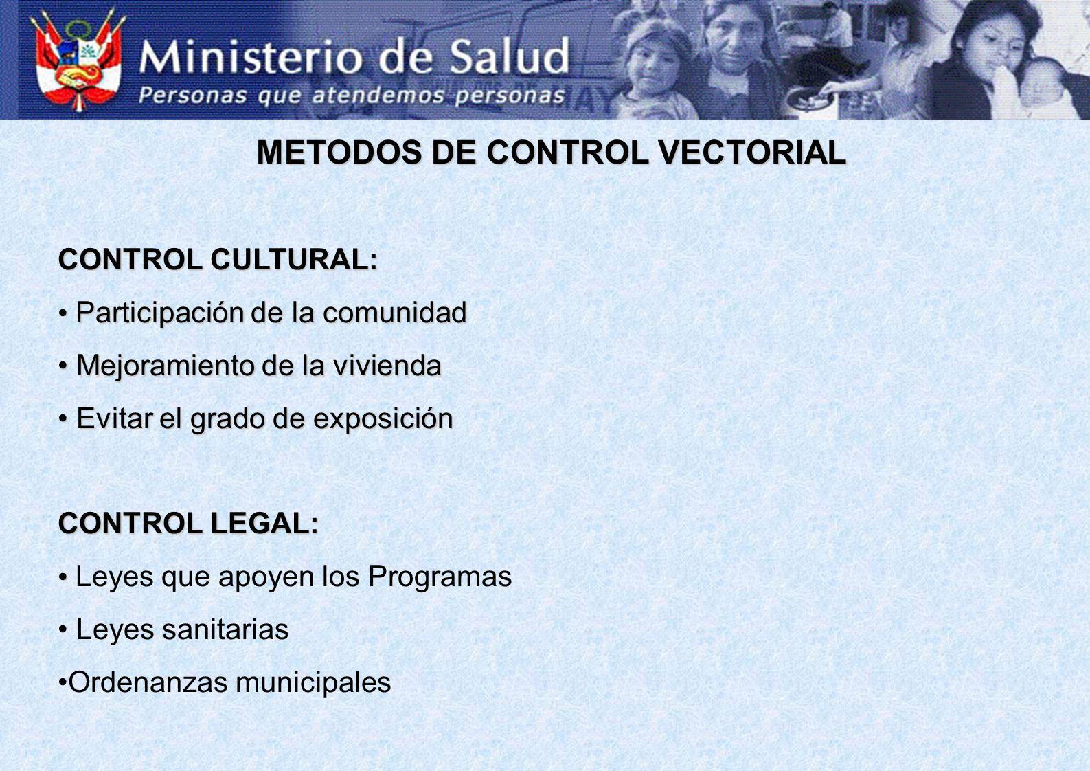 METODOS DE CONTROL VECTORIAL CONTROL CULTURAL: Participación de la comunidad Participación de la comunidad Mejoramiento de la vivienda Mejoramiento de