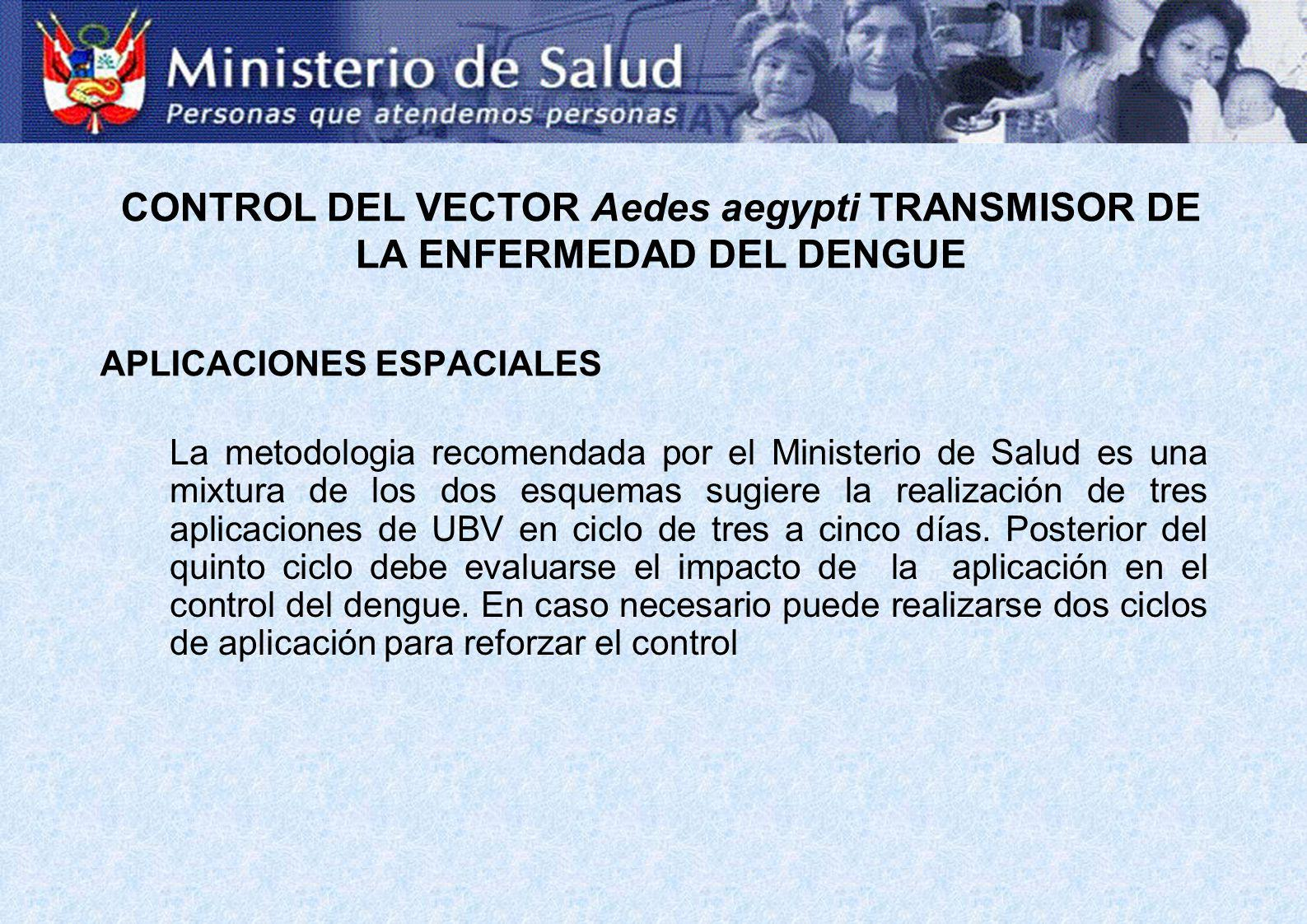 APLICACIONES ESPACIALES La metodologia recomendada por el Ministerio de Salud es una mixtura de los dos esquemas sugiere la realización de tres aplica