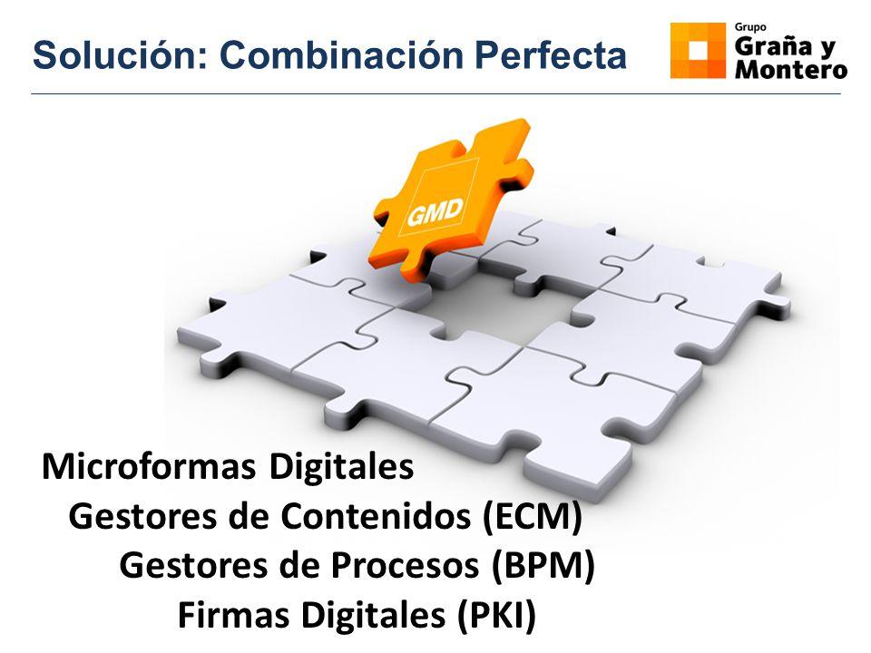 Solución: Combinación Perfecta Microformas Digitales Gestores de Contenidos (ECM) Gestores de Procesos (BPM) Firmas Digitales (PKI)