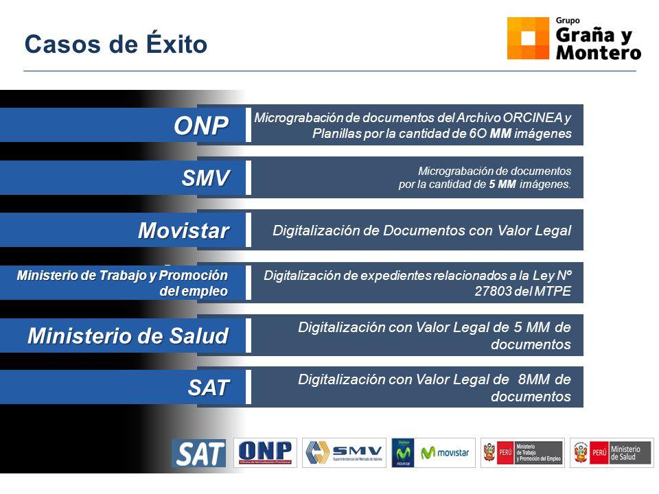 Casos de Éxito Micrograbación de documentos del Archivo ORCINEA y Planillas por la cantidad de 6O MM imágenesONP Micrograbación de documentos por la c