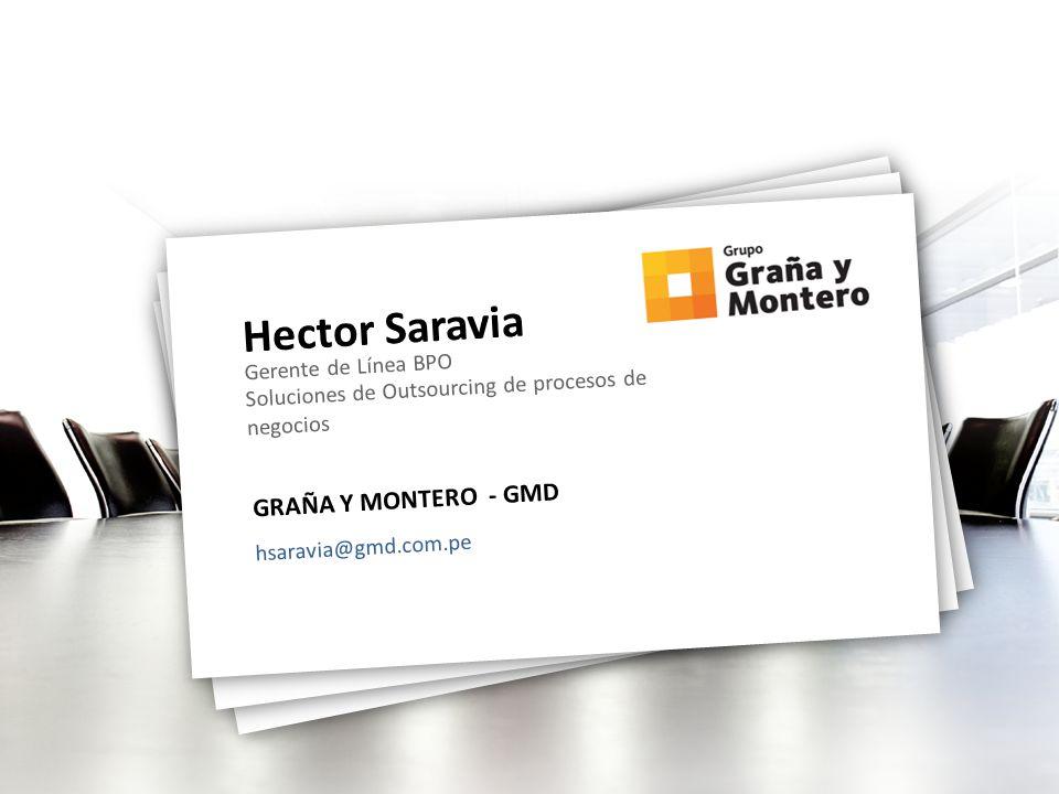 Hector Saravia Gerente de Línea BPO Soluciones de Outsourcing de procesos de negocios GRAÑA Y MONTERO - GMD hsaravia@gmd.com.pe