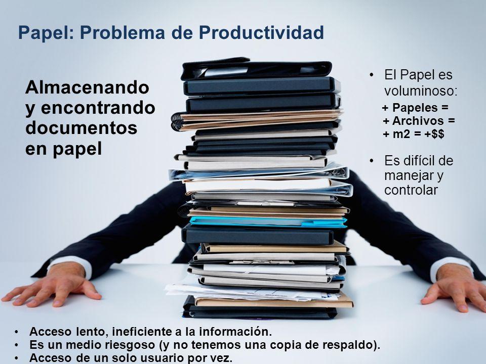 Papel: Problema de Productividad Almacenando y encontrando documentos en papel El Papel es voluminoso: + Papeles = + Archivos = + m2 = +$$ Es difícil de manejar y controlar Acceso lento, ineficiente a la información.