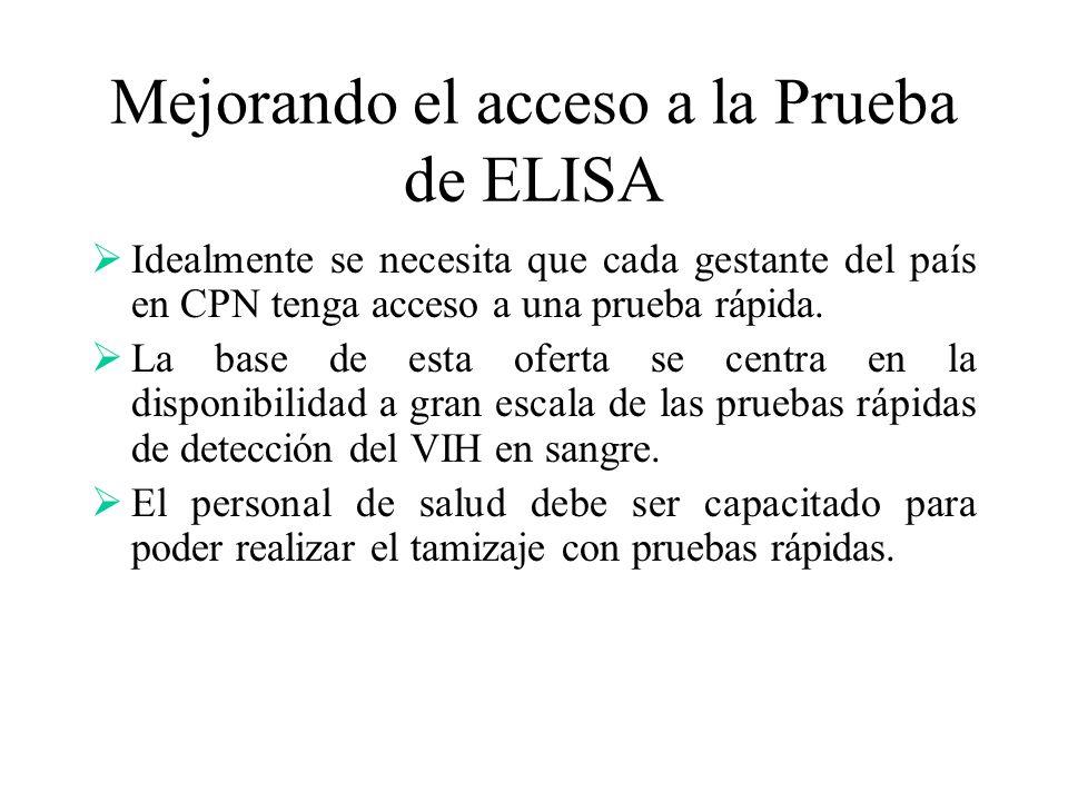 Mejorando el acceso a la Prueba de ELISA Idealmente se necesita que cada gestante del país en CPN tenga acceso a una prueba rápida. La base de esta of