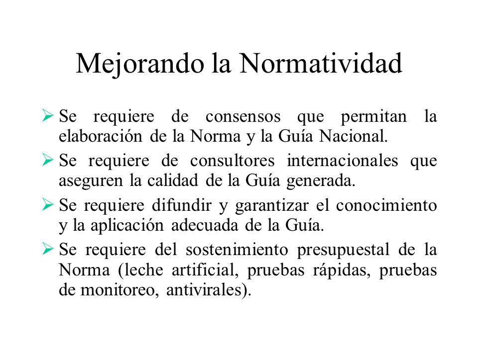 Mejorando la Normatividad Se requiere de consensos que permitan la elaboración de la Norma y la Guía Nacional. Se requiere de consultores internaciona
