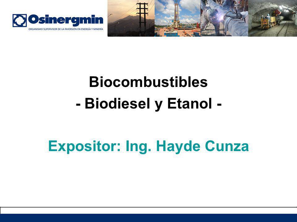 Marco Legal de los Biocombustibles en el Perú: Decreto Supremo 021-2007-EM (20-04-2007): Reglamento de Comercialización de Biocombustibles Establece los requisitos para la comercialización y distribución de los Biocombustibles, así como las normas técnicas de calidad de los Biocombustibles (Biodiesel B100 y Etanol).