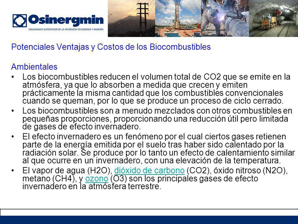 Potenciales Ventajas y Costos de los Biocombustibles Ambientales Los biocombustibles reducen el volumen total de CO2 que se emite en la atmósfera, ya que lo absorben a medida que crecen y emiten prácticamente la misma cantidad que los combustibles convencionales cuando se queman, por lo que se produce un proceso de ciclo cerrado.