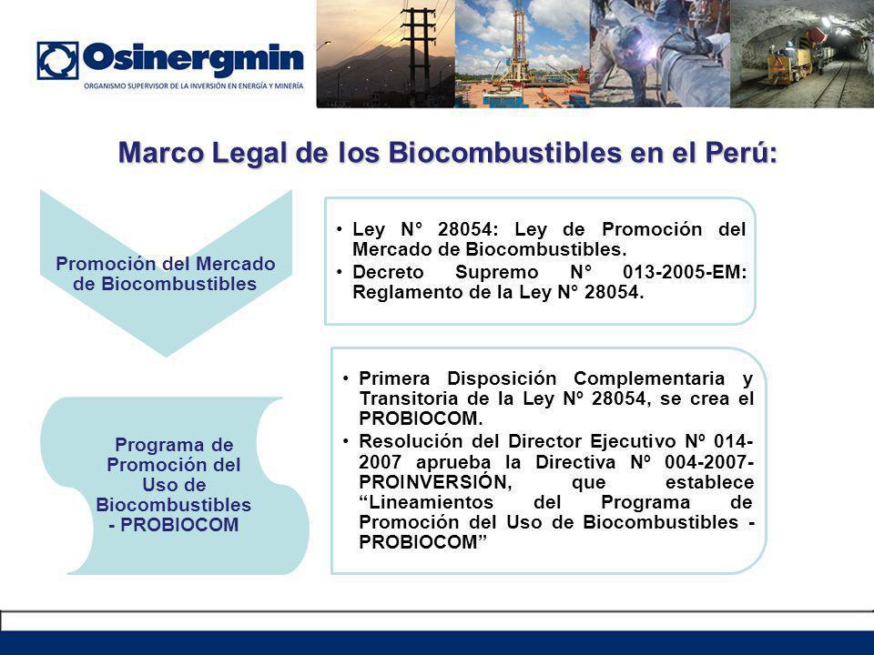 Marco Legal de los Biocombustibles en el Perú: Promoción del Mercado de Biocombustibles Ley N° 28054: Ley de Promoción del Mercado de Biocombustibles.