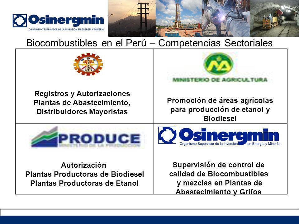 Biocombustibles en el Perú – Competencias Sectoriales Registros y Autorizaciones Plantas de Abastecimiento, Distribuidores Mayoristas Promoción de áreas agrícolas para producción de etanol y Biodiesel Autorización Plantas Productoras de Biodiesel Plantas Productoras de Etanol Supervisión de control de calidad de Biocombustibles y mezclas en Plantas de Abastecimiento y Grifos