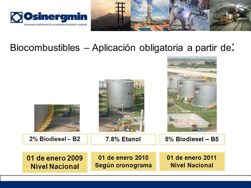 Biocombustibles – Aplicación obligatoria a partir de : 7.8% Etanol 2% Biodiesel – B2 5% Biodiesel – B5 01 de enero 2010 Según cronograma 01 de enero 2009 Nivel Nacional 01 de enero 2011 Nivel Nacional