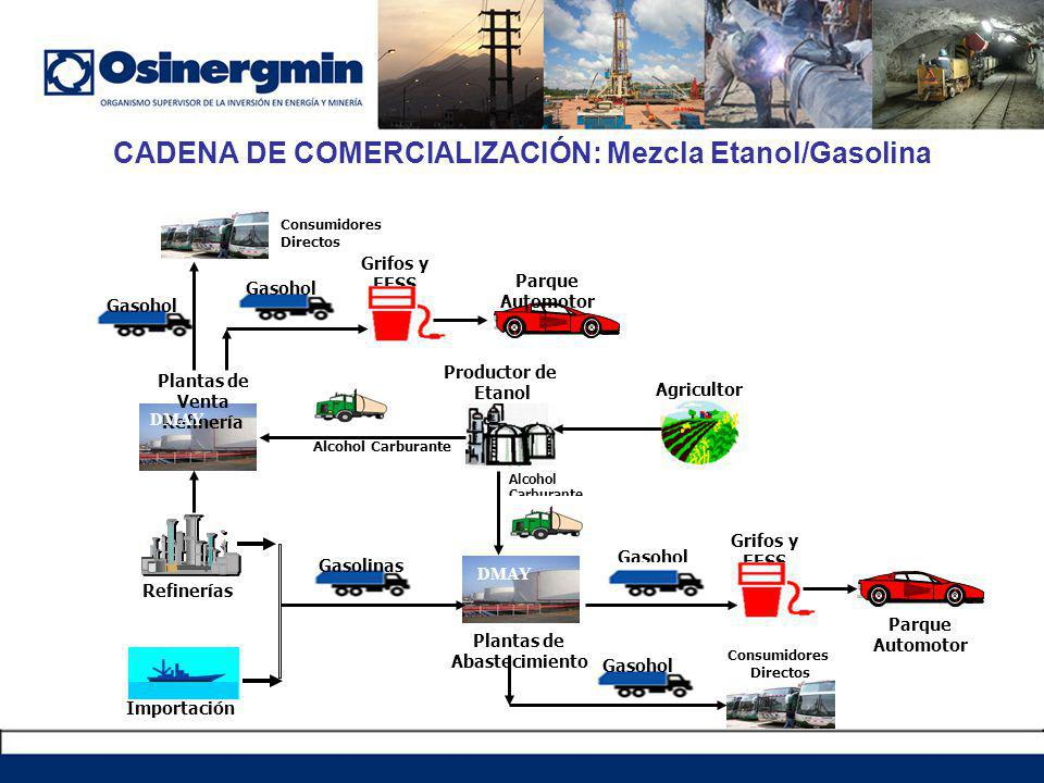 CADENA DE COMERCIALIZACIÓN: Mezcla Etanol/Gasolina Refinerías Consumidores Directos Gasohol Plantas de Abastecimiento Agricultor Alcohol Carburante Plantas de Venta Refinería Importación Gasolinas Productor de Etanol Alcohol Carburante Grifos y EESS Gasohol Parque Automotor Parque Automotor Grifos y EESS Gasohol Consumidores Directos DMAY